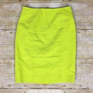 Ann Taylor Neon Green Pencil Skirt